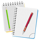 Two notebooks,  red pen and green pencil Stock Photo