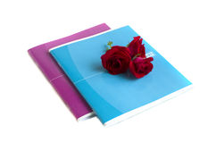 Two notebooks and roses. Are on a white background Stock Photo