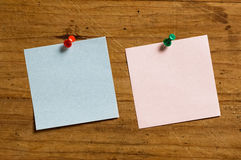 Two notes with pin. Stock Image