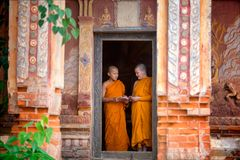 Two novices are standing reading books together in the temple. T Royalty Free Stock Photo