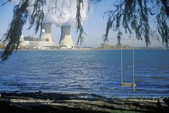 Two nuclear power plants at Lake Erie, MI Stock Image