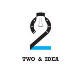Two number icon and light bulb abstract logo design vector templ. Ate.Business and education logotype idea concept.Vector illustration Stock Photography