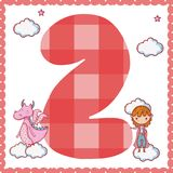 Two number cartoon. Two number magic world cartoon vector illustration graphic design Stock Photo