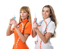 Two nurse his hand injection Royalty Free Stock Photography