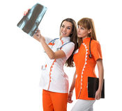 Two nurse  watching X Ray image Royalty Free Stock Image