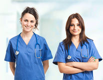 Two nurses. In a clinic Royalty Free Stock Photo