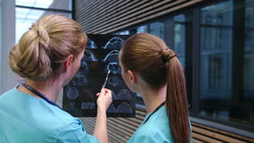Two nurses examining an x-ray report in corridor. At hospital stock video