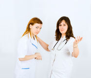 Two nurses handshake Stock Photos