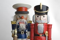 Two nutcrackers. Two toy soldier nutcrackers side by side Stock Photos
