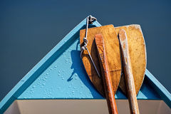 Two Oars. Abstract view of a small skiff with oars Stock Image