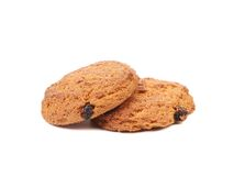 Two oatmeal cookies Royalty Free Stock Images