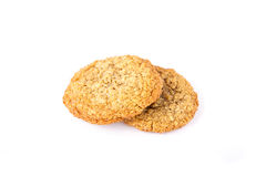 Two Oatmeal Cookies on White Background Royalty Free Stock Images