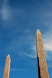 Two obelisks. The two obelisks of Hatshepsut at the Karnak temple complex, Egypt Royalty Free Stock Photos
