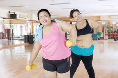 Two obese people exercising with dumbbells. Two obese people smiling at the camera while exercising with dumbbells in the fitness center Royalty Free Stock Photo