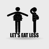 Two obesity stick mans. Vector illustration with two obesity stick mans. And inscription: Let's eat less Stock Photo