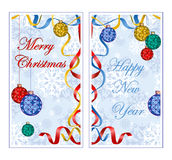 Two oblong greeting banner for the winter holidays. Background with pattern of snowflakes, colorful christmas ball, ribbon streame Royalty Free Stock Images