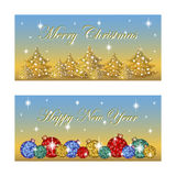 Two oblong horizontal greeting card for the winter holidays. Bright Christmas balls, silhouettes of trees, the stars twinkle. Back Stock Photography