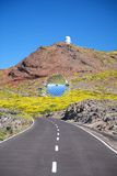 Two observatories at La Palma. Rural road at La Palma in Canary Islands Spain Royalty Free Stock Image