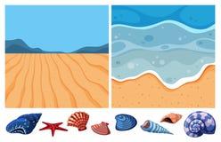 Two ocean scenes with many seashells. Illustration Royalty Free Stock Photos