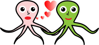 Two octopuses in love Stock Image