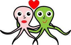 Two octopuses in love for Valentine's day Royalty Free Stock Photos