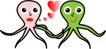 Two octopuses in love for Valentine's day Royalty Free Stock Images