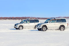 Two off road SUVs racing Stock Photography