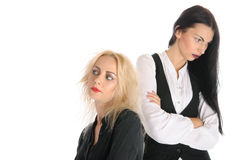 Two offended women. Isolated in white Stock Photography