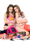 Two offended young women. Isolated Royalty Free Stock Image