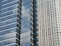 Two Office Buildings in New York City. Two different styles of office buildings in downtown New York City stock photo