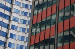 Two office buildings in Portland, Oregon. Appear to merge into each other Royalty Free Stock Image