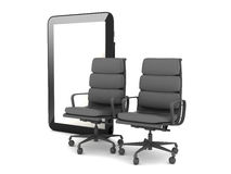 Two office chairs and tablet computer Stock Images