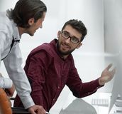 Two office employee talking in the office. Stock Photo