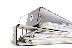 Two office folders. Two black office folders with documents isolated on white Stock Photography