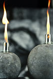 Two oil lamps  with lit wick Royalty Free Stock Image
