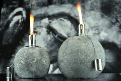 Two Oil Lamps With Lit Wick Royalty Free Stock Photo