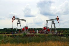 Two oil pump Stock Photo