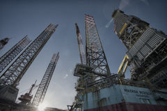 Two Oil Rigs Closeup royalty free stock image
