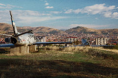 Two old airplanes. Deserted vehicle at the top. Bitola, Macedonia Royalty Free Stock Photos