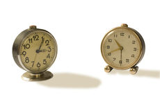 Two old alarm clocks Stock Photography