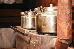 Two Old aluminum kettle close up royalty free stock photos