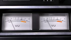 Two old analog dial vu signal indicators with arrow. Meter of audio signal in decibels. Indicator gauge signal, level meter. Dial gauge modes tape recorder stock video