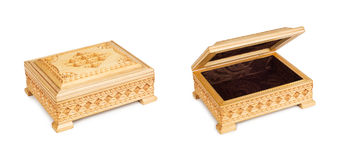 Two old antique, closed and opened arabic trunk Stock Photography