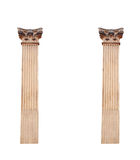 Two old architectural columns isolated on white background Stock Images
