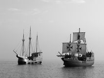 Two Old battle ships at sea. Old battle ships in mediterranean sea Stock Photos