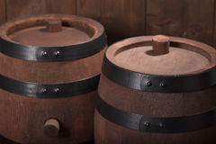 Two old beer barrels Stock Photo