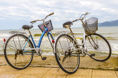 Two old bicycle. On the beach Royalty Free Stock Photo