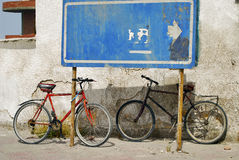 Two old bicycles Royalty Free Stock Photos