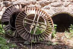 Two old big wheel in the woods. Two old big wheel in the forest near the cave in park  Tel Dan in Israel Stock Photos