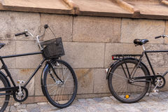 Two old black bike Royalty Free Stock Photo